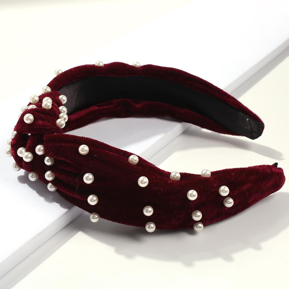 Fashion wild inlaid beads candy color headband NHMD137982