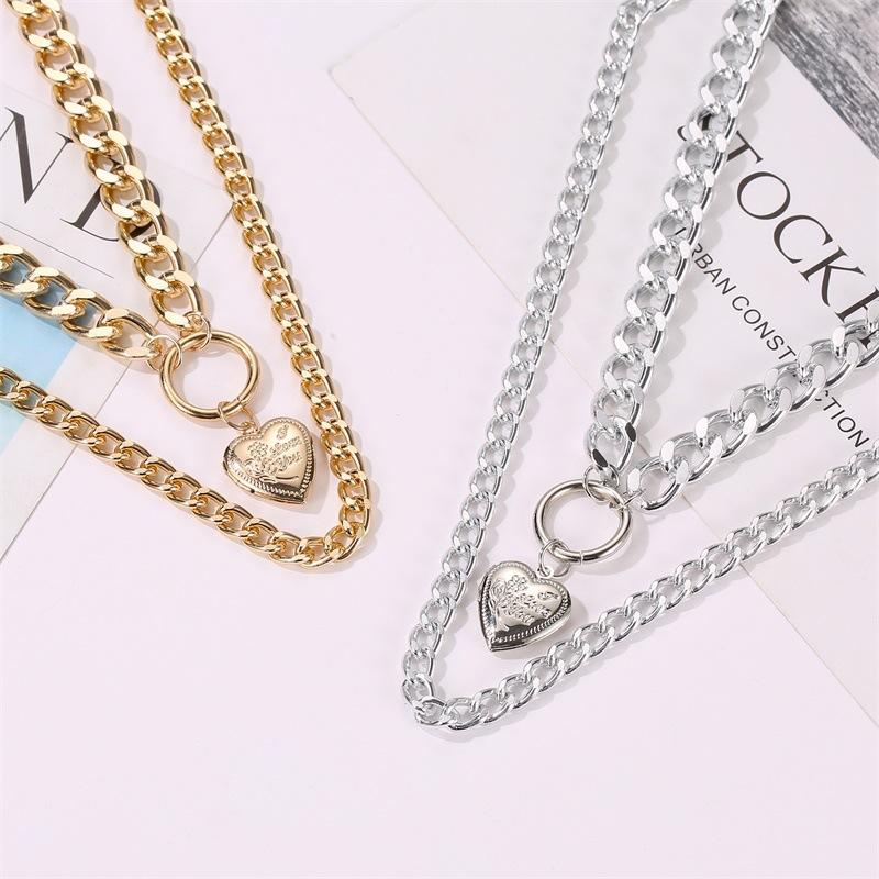 Fashion double love pendant exaggerated thick chain necklace sweater chain NHDP176880