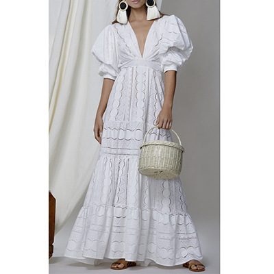 2020 summer new European and American foreign trade women's wear wish deep V bubble sleeve lace dress hollowed out dress new style