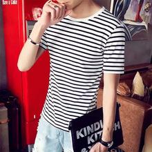 厂家直销夏季新款韩版修身青年男士圆领短袖透气赠品情侣条纹T恤