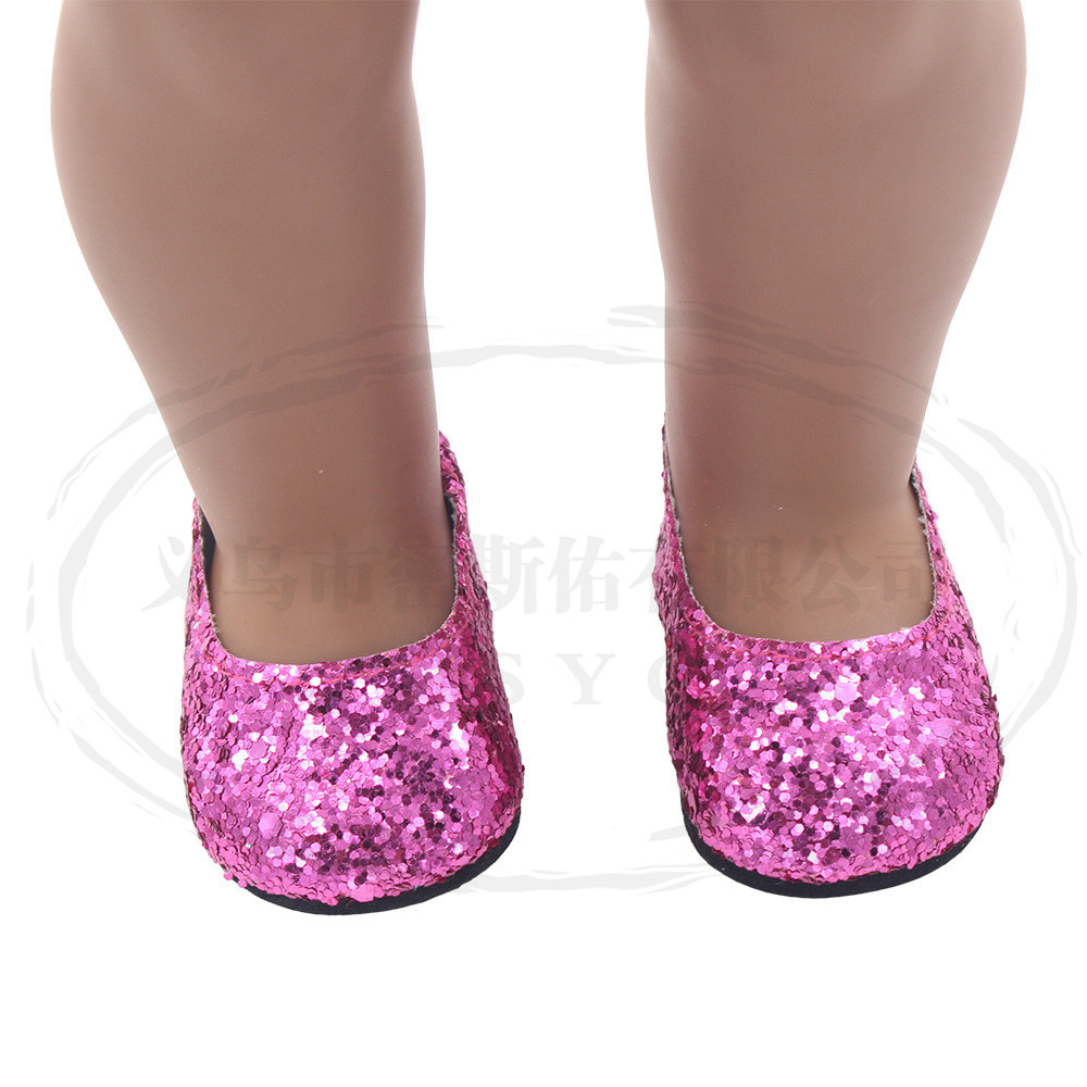6Pairs Modern Doll Shoes Sparkle Sequined Shoes For 18 inch American Girl Doll