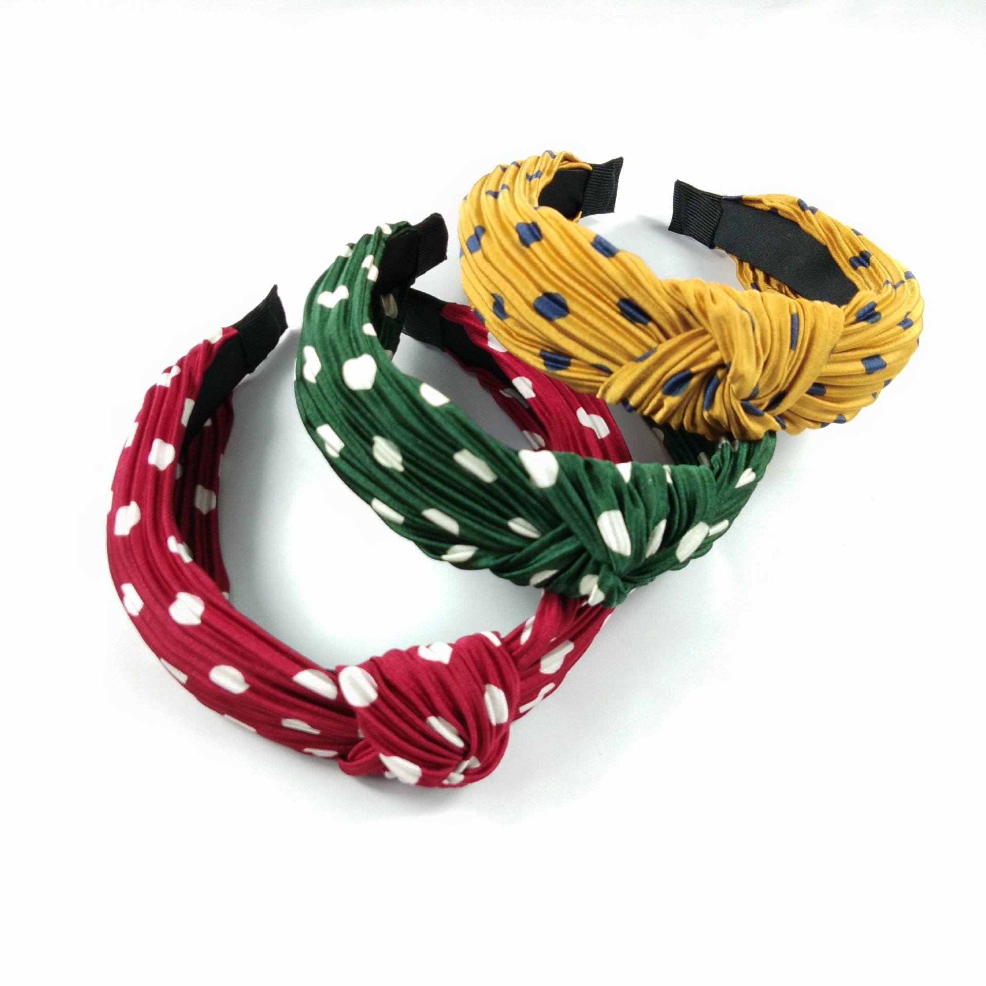 best selling fabric pleated knotted hair band highend wave point wideedge hairpin pressure hair round dot headband ladies wholesale nihaojewelry NHUX221684