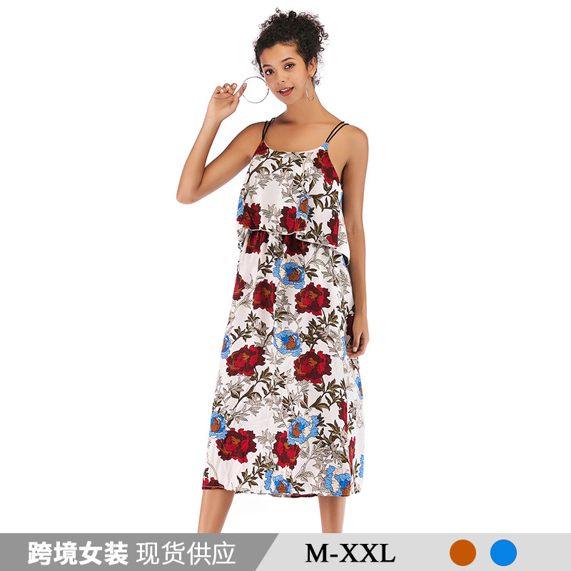 Cross-border one-generation women's printed fashion strap dress European and American 2019 new backless chiffon skirt