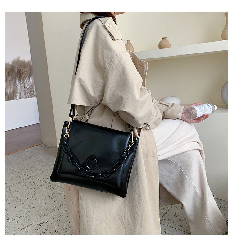 New fashion simple wax oil leather large capacity tote bag NHPB187030
