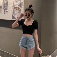 复古女人泡泡袖上衣2019夏季新款chic修身百搭小性感露肚跻短袖女
