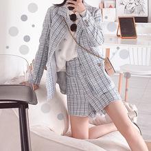 2019秋冬新品女裝 韓國格子粗花呢女士小香風西裝褲兩件套套裝
