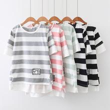 HH7412夏季新款韩版时?#34892;?#38386;宽条贴标假两件圆领短袖t恤上衣女潮