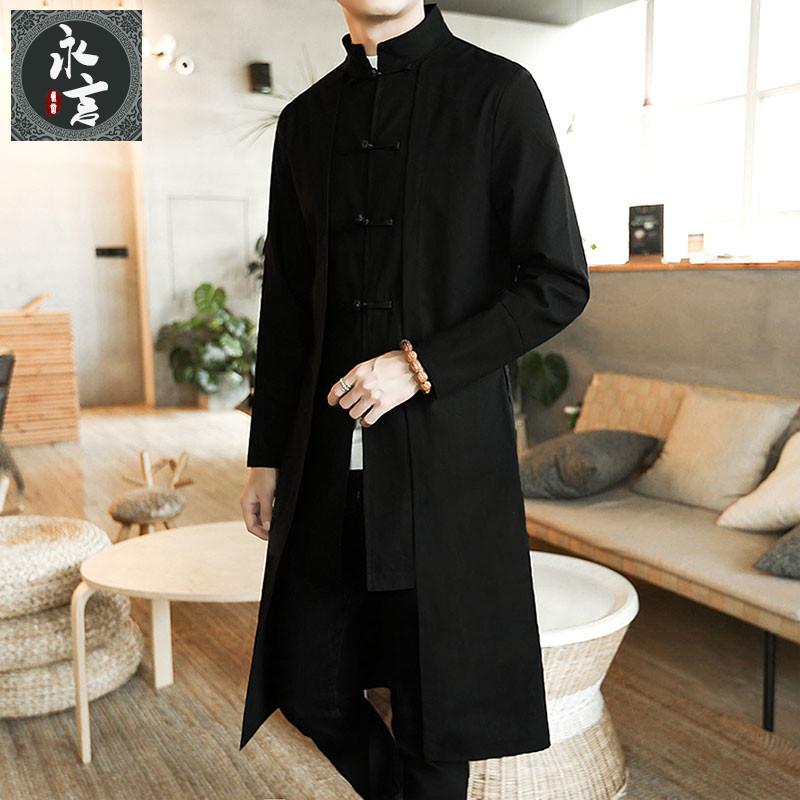 春季中国风男装古风汉服中长款风衣男士唐装披风棉麻道袍大衣外套