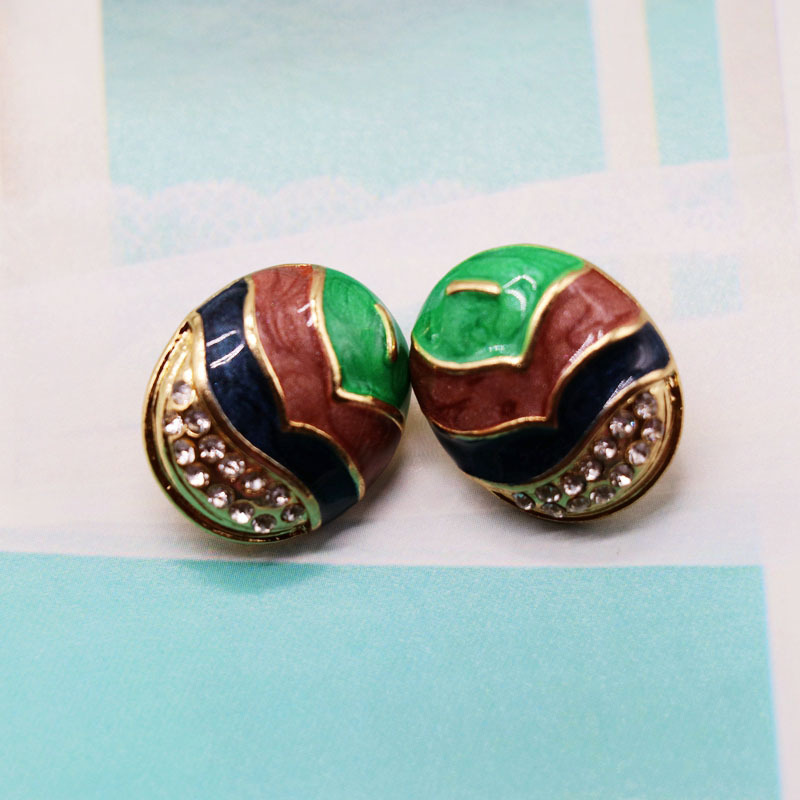 Vintage fashion color matching alloy earrings NHOM155032
