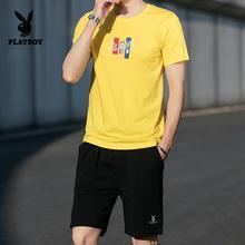 2019港风嘻哈男式休闲运动套装时尚潮流短袖T恤/五分裤短裤男装夏