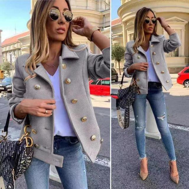 new ladies fashion double-breasted woolen short jacket NSYF1137