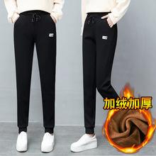 2019冬季女装新款休闲裤韩版时尚高腰?#23665;?#21152;绒加厚直筒长裤女