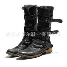 女圆头人造PU休闲女式皮靴侧拉链骑士靴厚保暖低跟女鞋代理加盟