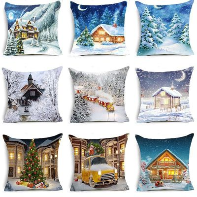 18'' Cushion Cover Pillow Case Christmas snow house series pillow cover holiday home decoration Christmas pillow cushion cover