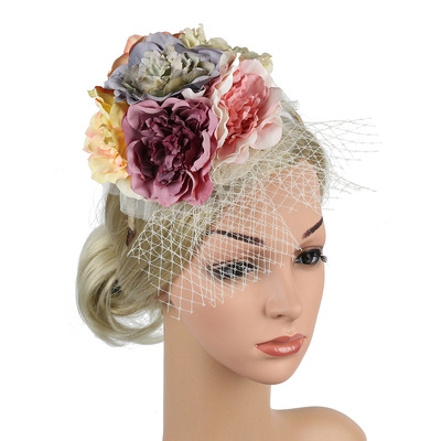 Party hats Fedoras hats for women Creative flower HAT party dance photo net gauze headdress mother headband hairpin hair ornament