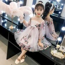Váy bé gái xuân hè 2019 mới cho bé ngoại quốc váy fluffy lưới hợp thời trang bé gái váy công chúa Váy trẻ em