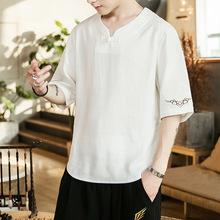 中国风T恤短袖男士棉麻V领上衣服亚麻体桖潮流刺绣大码衬衫夏装