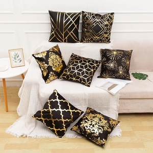 18'' Cushion Cover Pillow Case Personalized and creative black super soft velvet gilt holding pillow cover leaf bronzing pillow sofa cushion cover