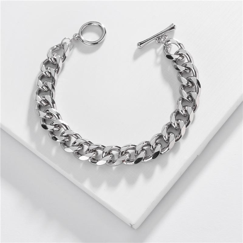 Pulsera de cadena de joyería al por mayor de una sola hebilla de cadena plana presionada pulsera de múltiples capas NHLU196792
