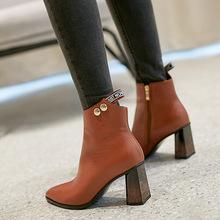 女靴2019秋冬新款尖头粗跟短筒高跟靴子女真皮百搭短靴春秋单靴