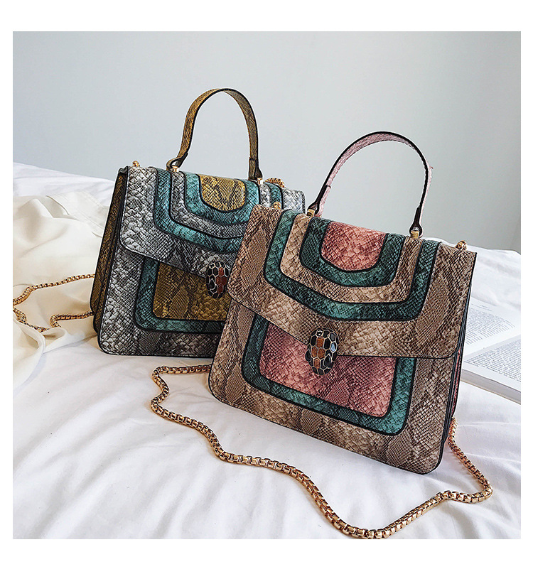 Color matching retro wild snake pattern shoulder diagonal package NHPB144196