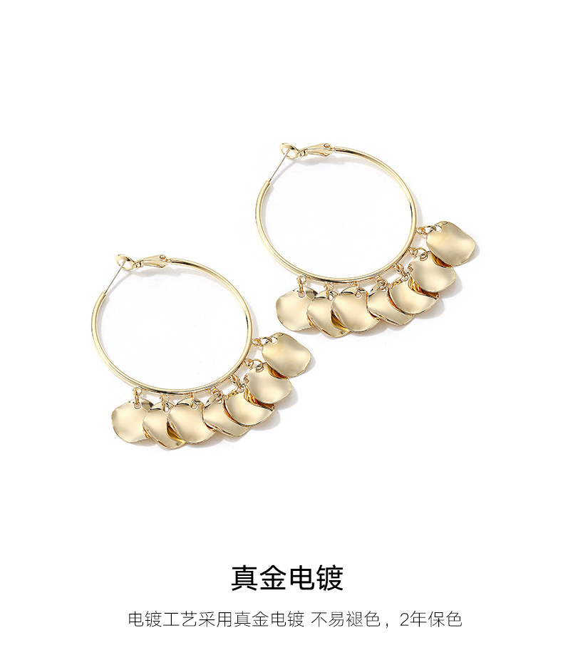Vintage exaggerated ring metal earrings NHLL157215