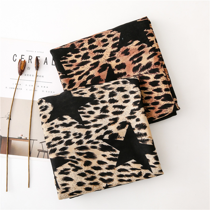 Cotton and linen shawl scarves leopard fivepointed star scarf NHGD157612