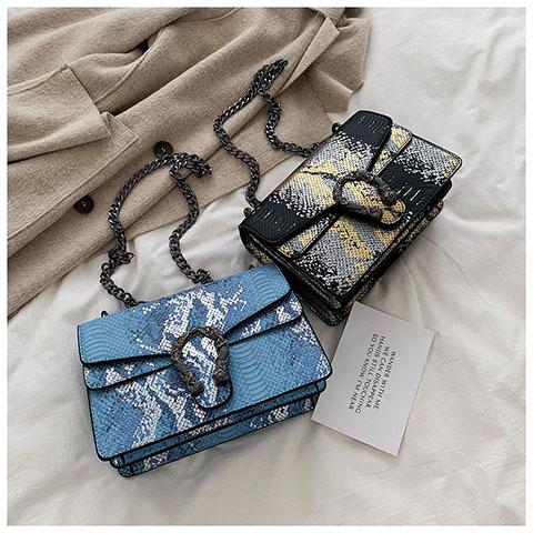 Wholesale womens fashion snakeskin pattern small square bag chain shoulder messenger bag NHLH409740