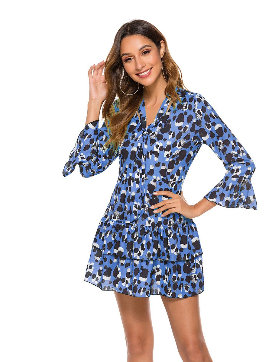 fashion printed nine-point sleeve dress NSAL2865