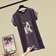 韩国2021夏季新款女装韩版潮宽松字母卡通图案亮片中长款短袖T恤