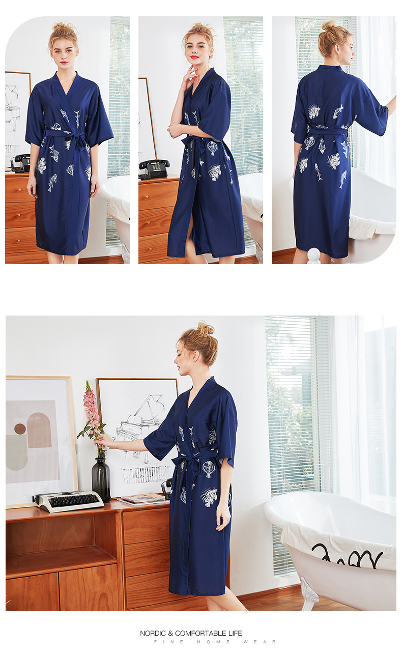Fashion simple silk pajamas women summer long red nightgown dressing gown wholesale nihaojewelry NHJO236660