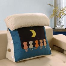 三角舒適床頭靠墊棉床上大靠枕喂奶美式植物花卉靠背墊腰枕護腰