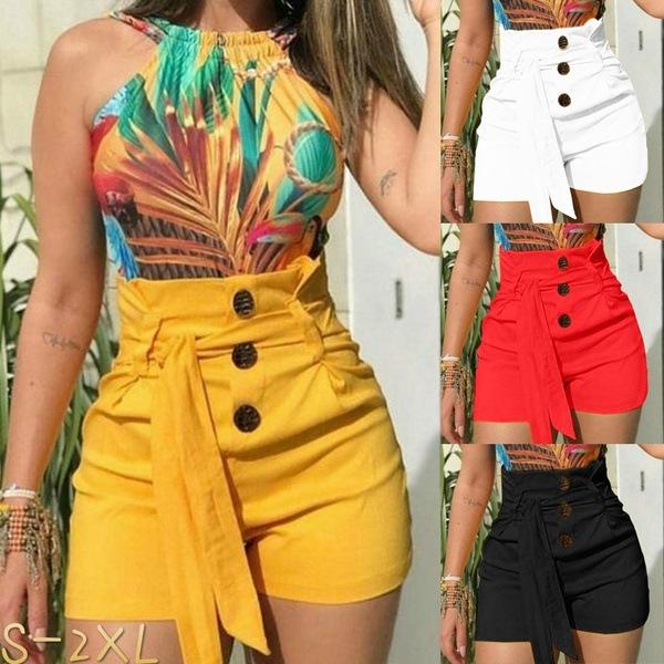 Women's Shorts Slim Fashion Sexy High Waist Belt Beach