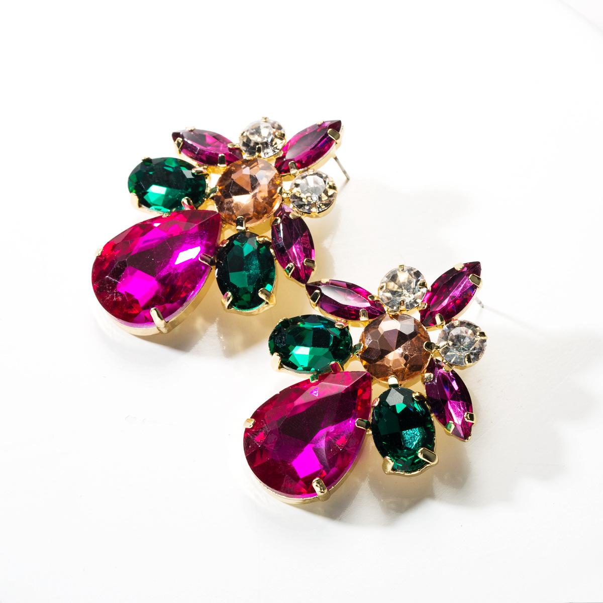 Fashion drop-shaped acrylic rhinestone earrings NHJE142065