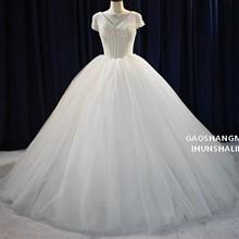 2019新款主婚纱包肩小袖纯手工订水晶亮丽高档修身优雅出门新娘服