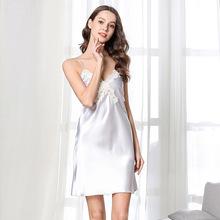 夏季仿真絲睡衣女 深v性感短袖睡裙 透視誘惑蕾 絲鏤空吊帶裙批發