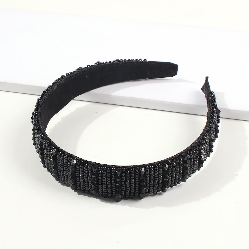 Banda para el cabello de moda Accesorios para el cabello con horquilla con cuentas negras Diadema NHMD186066