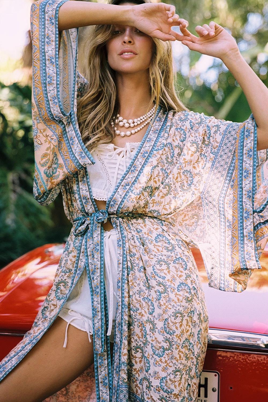 New Bohemian Vacation Beach Print Long Lace-up Cover Sun Shirt NHDF197988