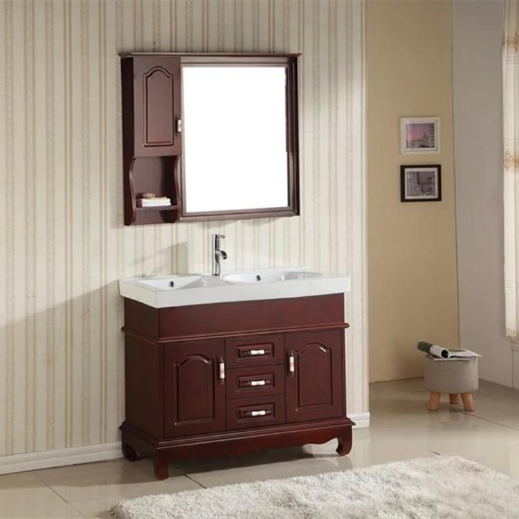 双盆落地浴室柜100CM带搓衣板实木卫浴柜 洗手盆 陶瓷洗脸盆