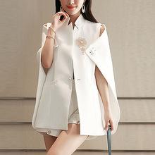 2019年新款女裝秋季寬松顯瘦純色披肩掛件氣質韓版立領仙女單件潮