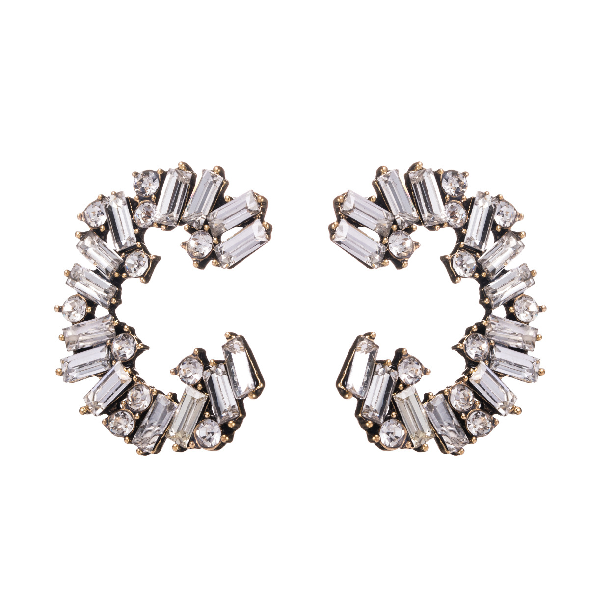 C type alloy diamond rhinestone full diamond earrings female earrings NHJE176137