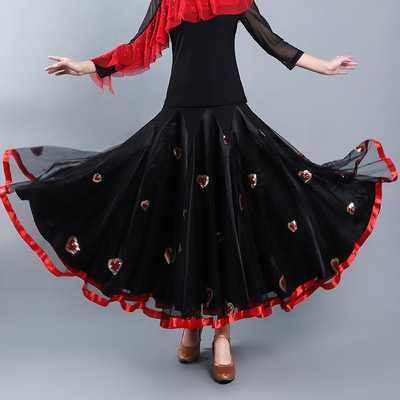 Ballroom dance skirt for women Modern dance skirt social dance half skirt female Waltz national standard dance practice performance big swing skirt