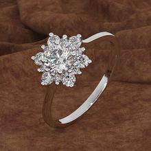 新款创意镶钻雪花戒指 欧美时尚气质女铜镀金玫瑰金仿真钻戒指环
