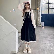 連衣裙女秋冬套裝2019新款洋氣仙女裙子收腰吊帶裙打底衫兩件套女