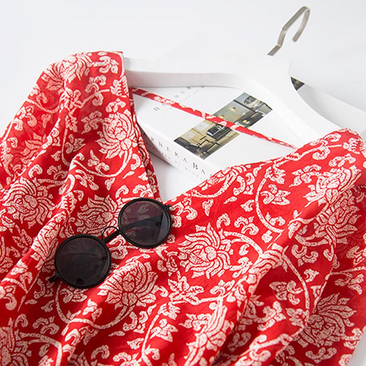 2020新夏装 双V领小心机女中长款桑蚕丝真丝红色花色连衣裙A0187