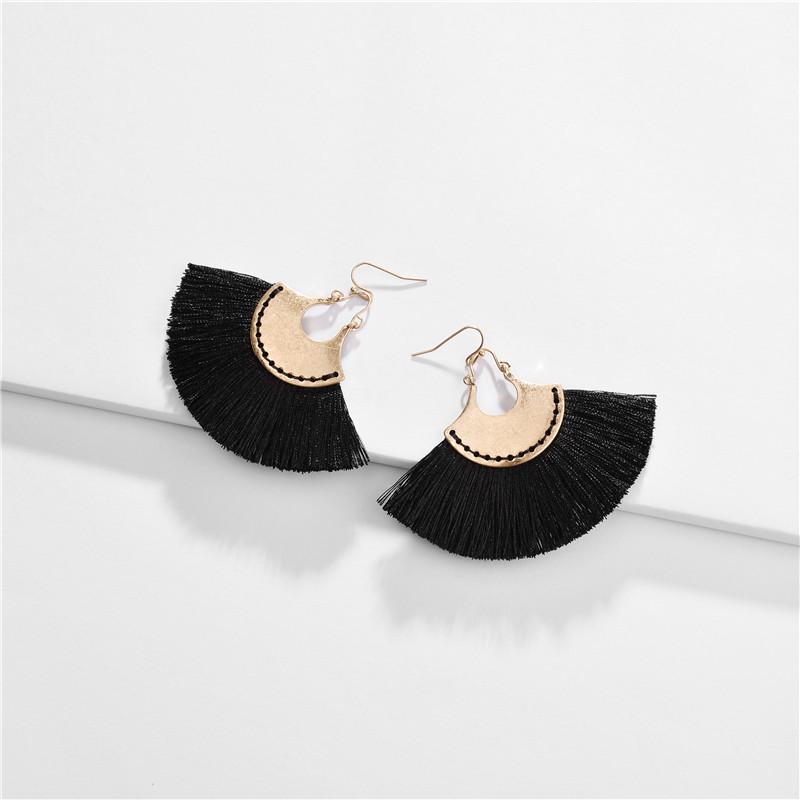 tassel fan earrings nihaojewelry wholesale fashion alloy fanshaped tassel tassel suture earrings NHLU215320