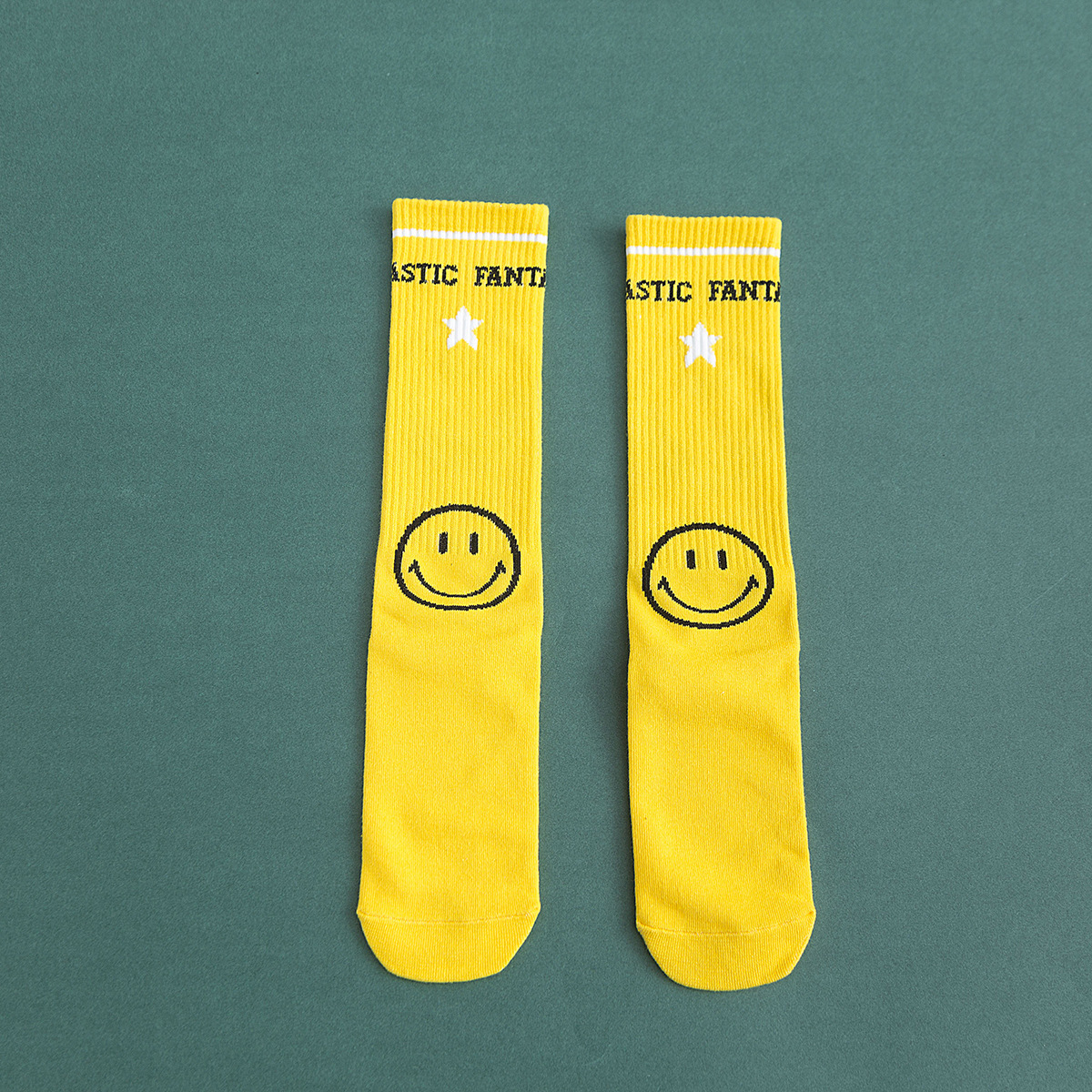 Men and women in stockings, color smiley, red lips, cotton socks NHZG175732