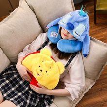 可爱u形护颈枕车载旅行连帽颈枕单人办公室午睡颈椎枕头卡通u型枕