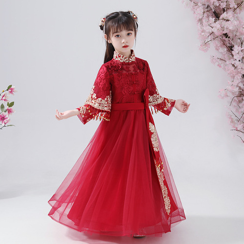 Chinese Hanfu fairy dress for girls Chinese ancient style princess cosplay dress chest full skirt children's Tang suit new year celebration dress for kids