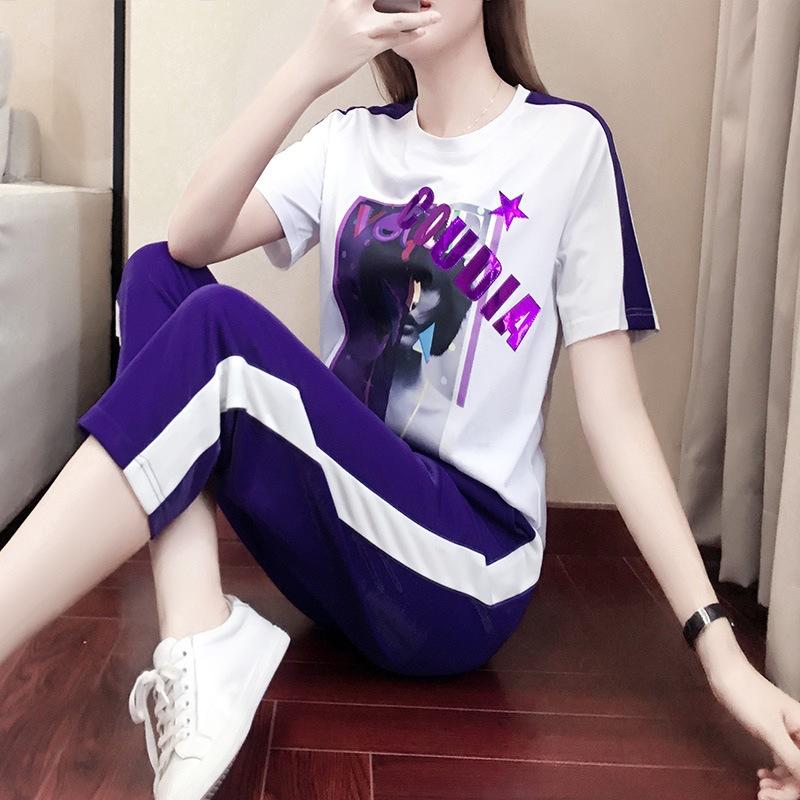 2019新款夏天套装两件套洋气减龄韩版裤装显瘦时尚女款休闲运动服